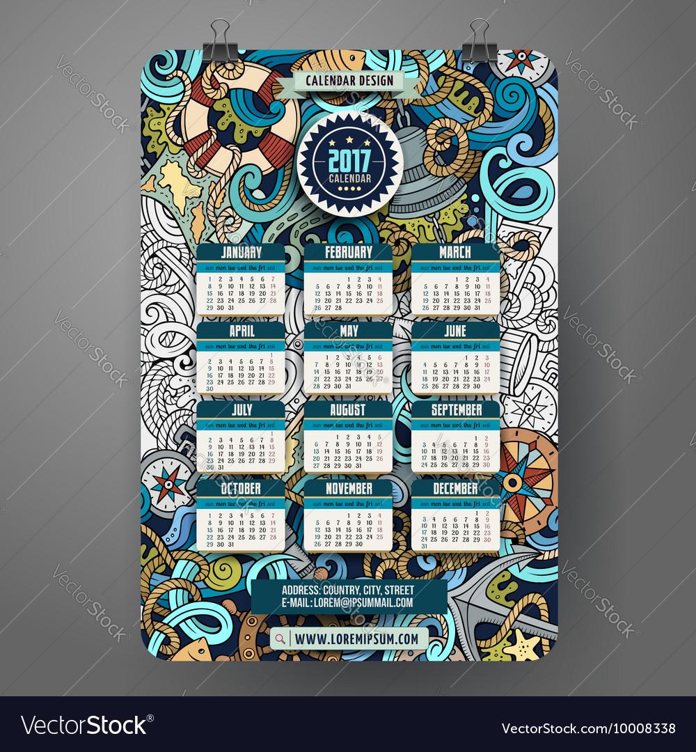 Cartoon doodles nautical 2017 calendar vector image
