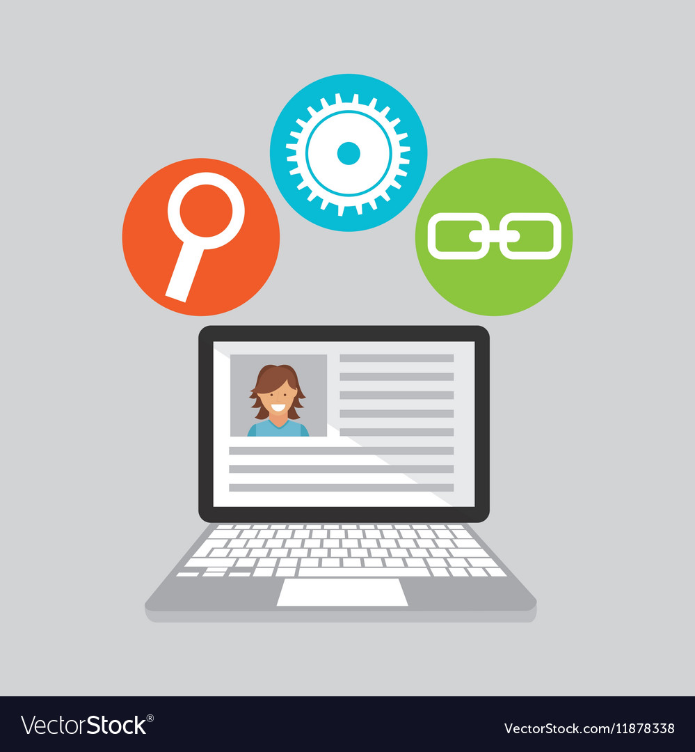 Computer technology social media concept vector image