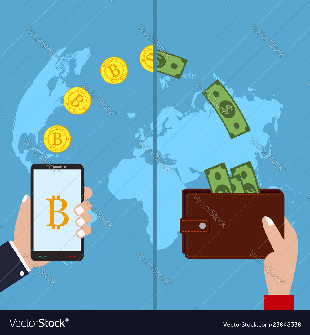 Concept of cryptocurrency bitcoin exchange