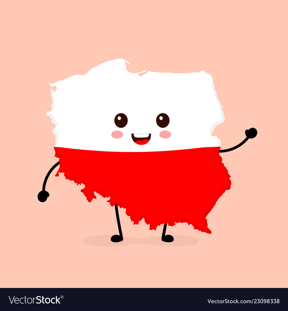 Cute funny smiling happy poland map