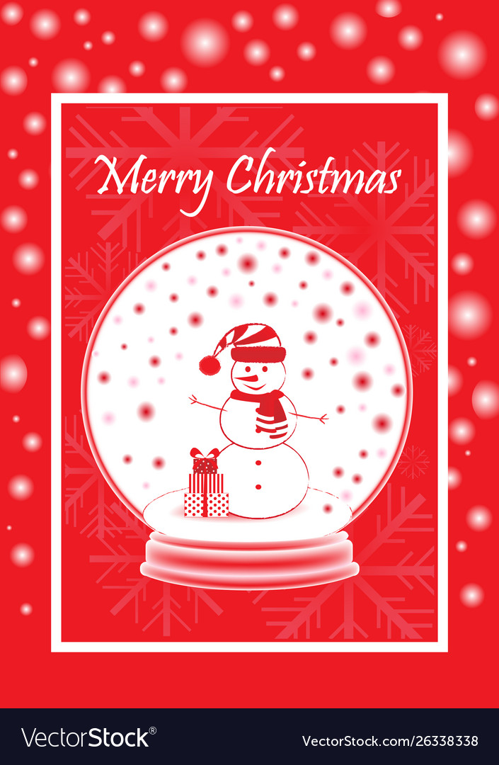 Greeting card marry christmas with snowman in the