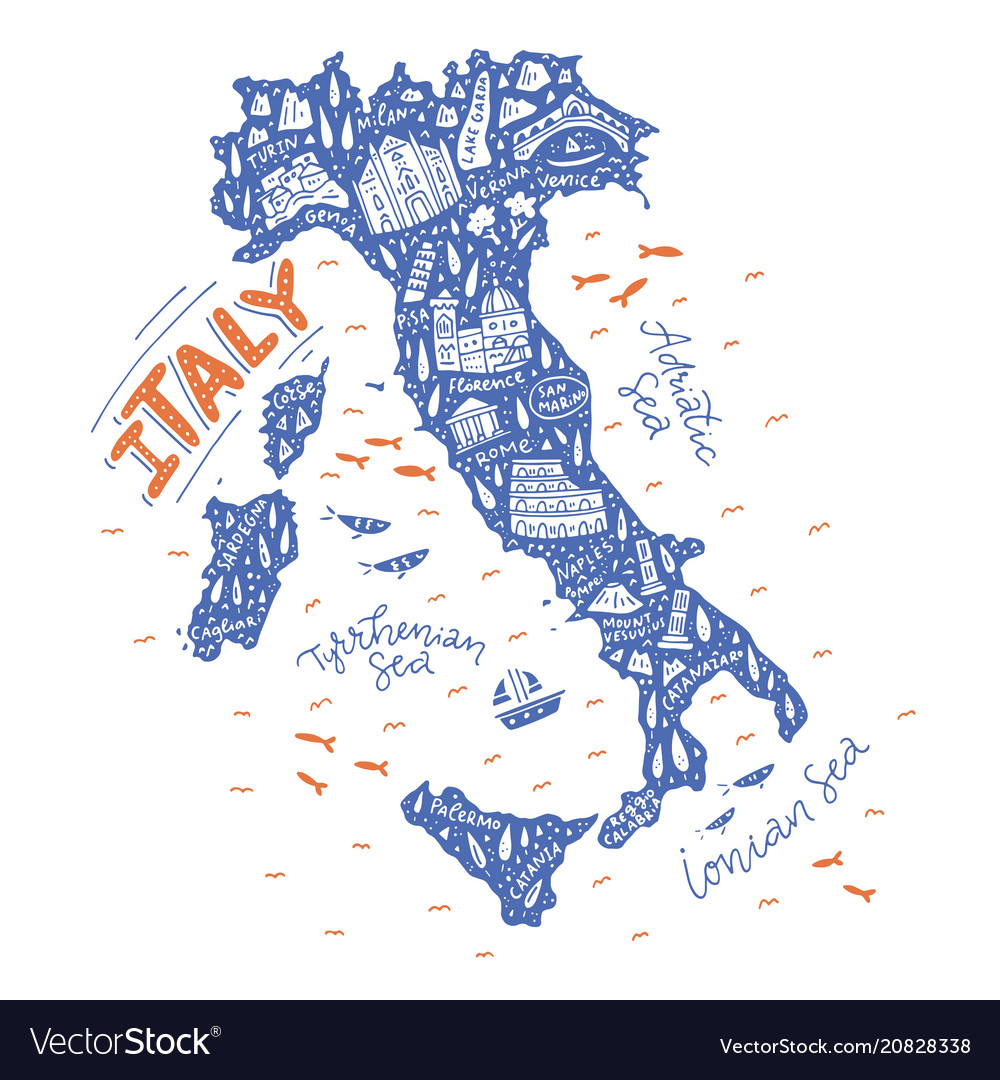 Handdrawn map of italy