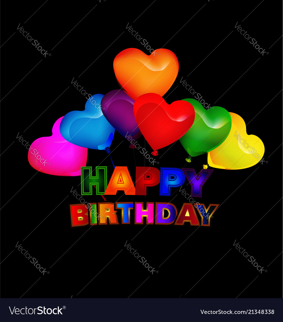 Happy Birthday Balloon Greeting Card Vector Image