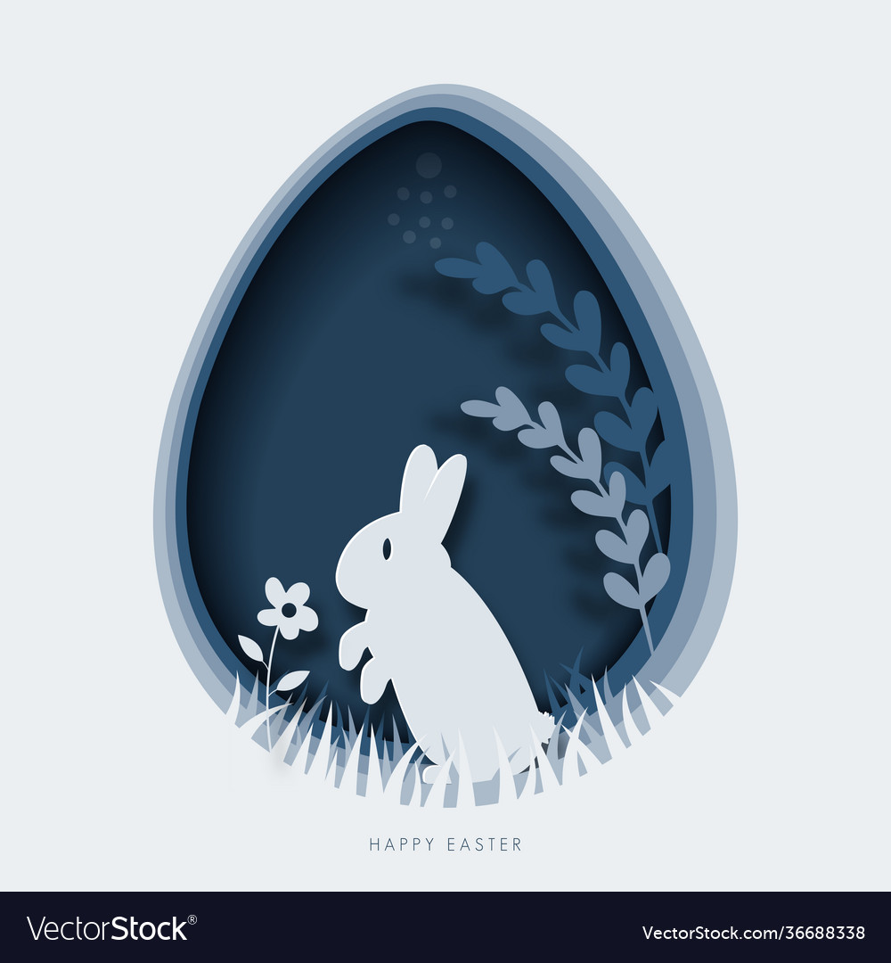 Happy easter greeting card template paper cut