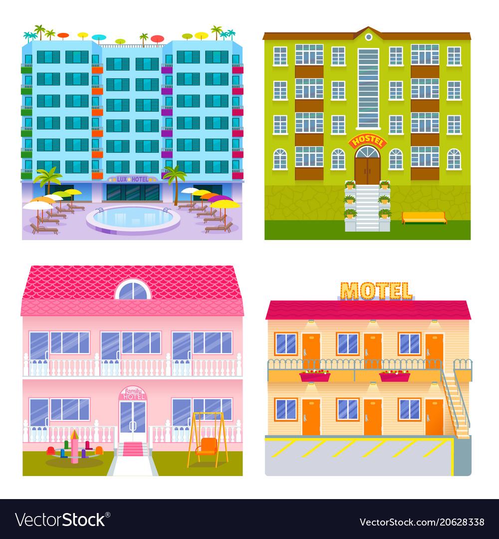 Hotels buildings tourist travelers places vacation