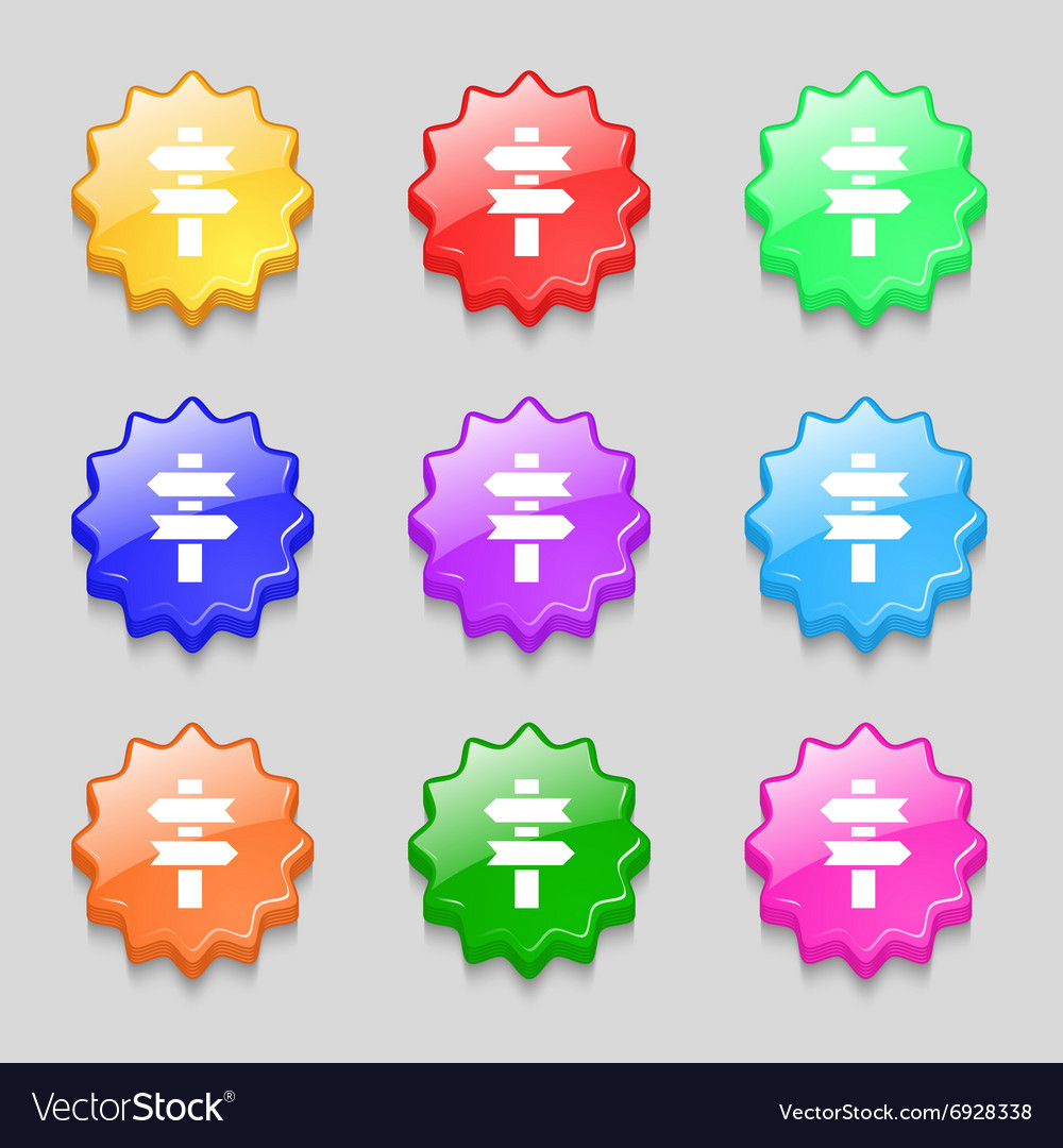 Line Directs Icon Sign Symbol On Nine Wavy Vector Image