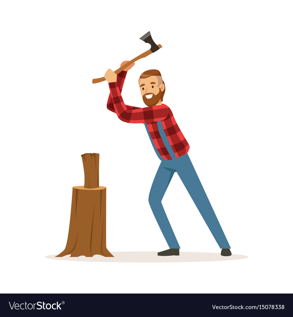 Lumberjack Chopping Wood With An Axe Colorful Vector Image