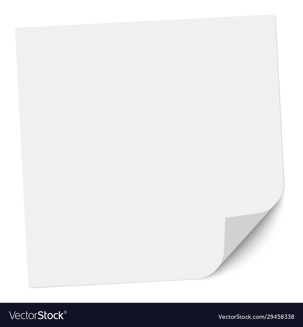 Note paper with a bent right bottom corner