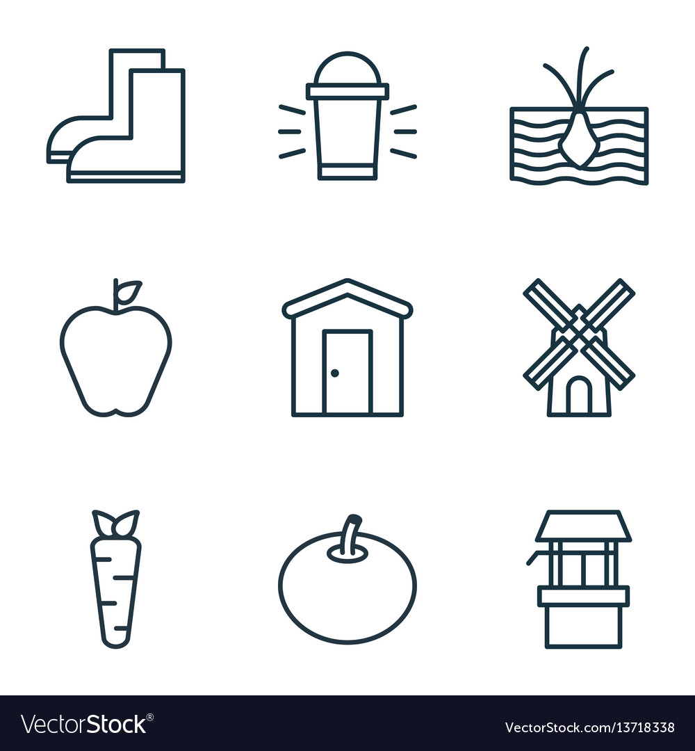 Set of 9 plant icons includes hang lamp