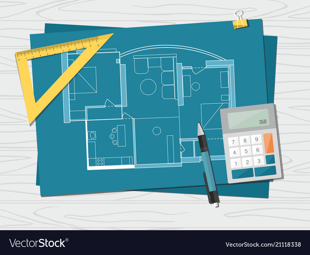 Technical Project Architect House Plan Blueprint Vector Image
