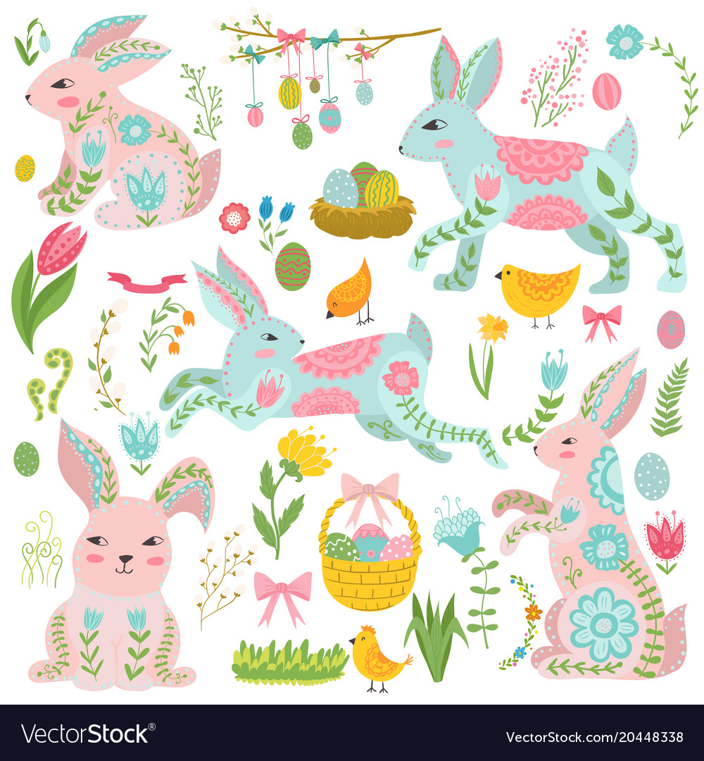 Vintage elements set easter theme rabbits