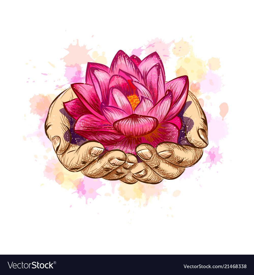 Woman holding a lotus flower royalty free vector image woman holding a lotus flower vector image izmirmasajfo