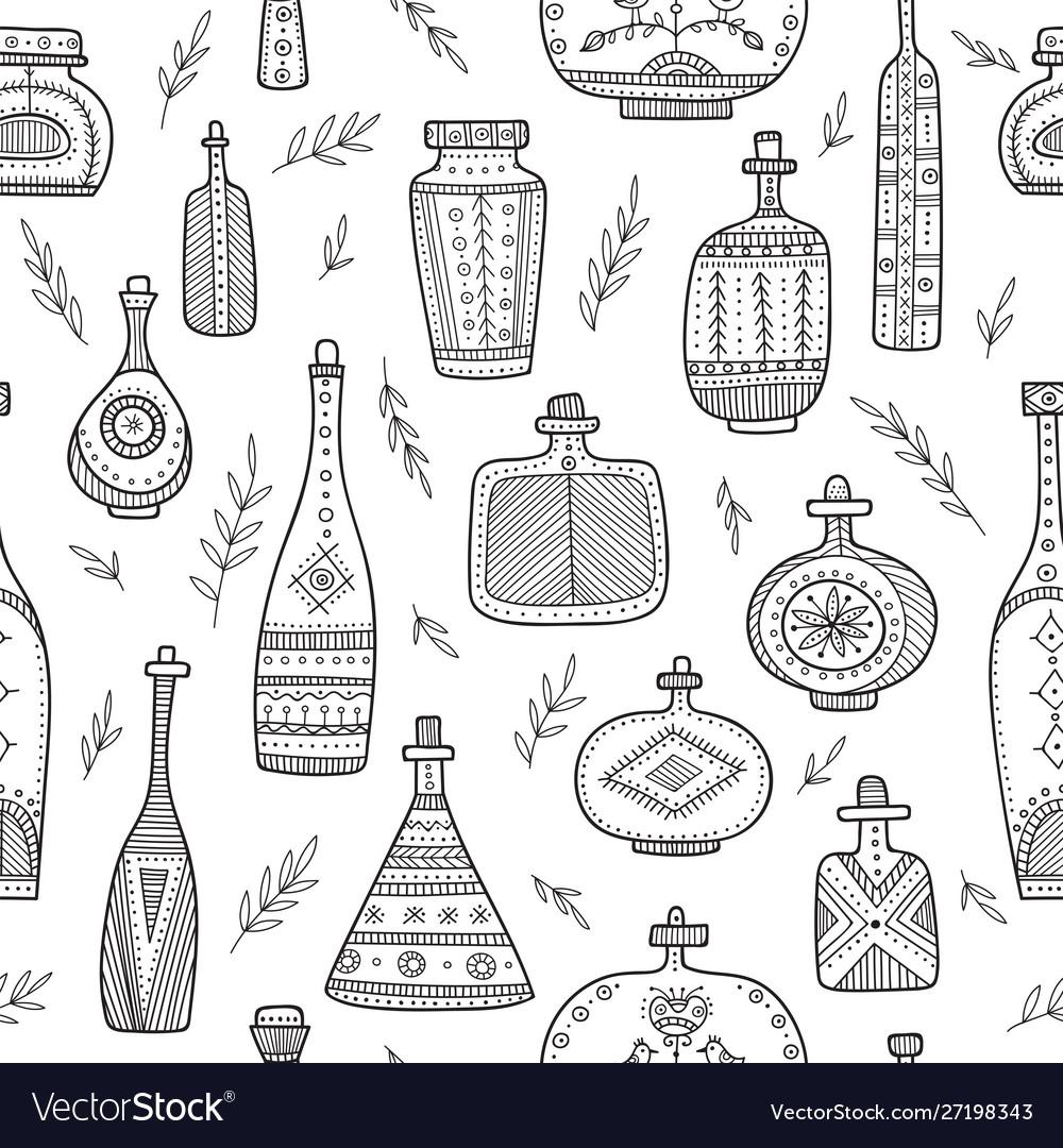 Bottles in boho style seamless pattern