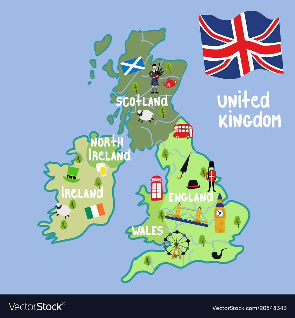 Cartoon United Kingdom Map National Symbols Vector Image