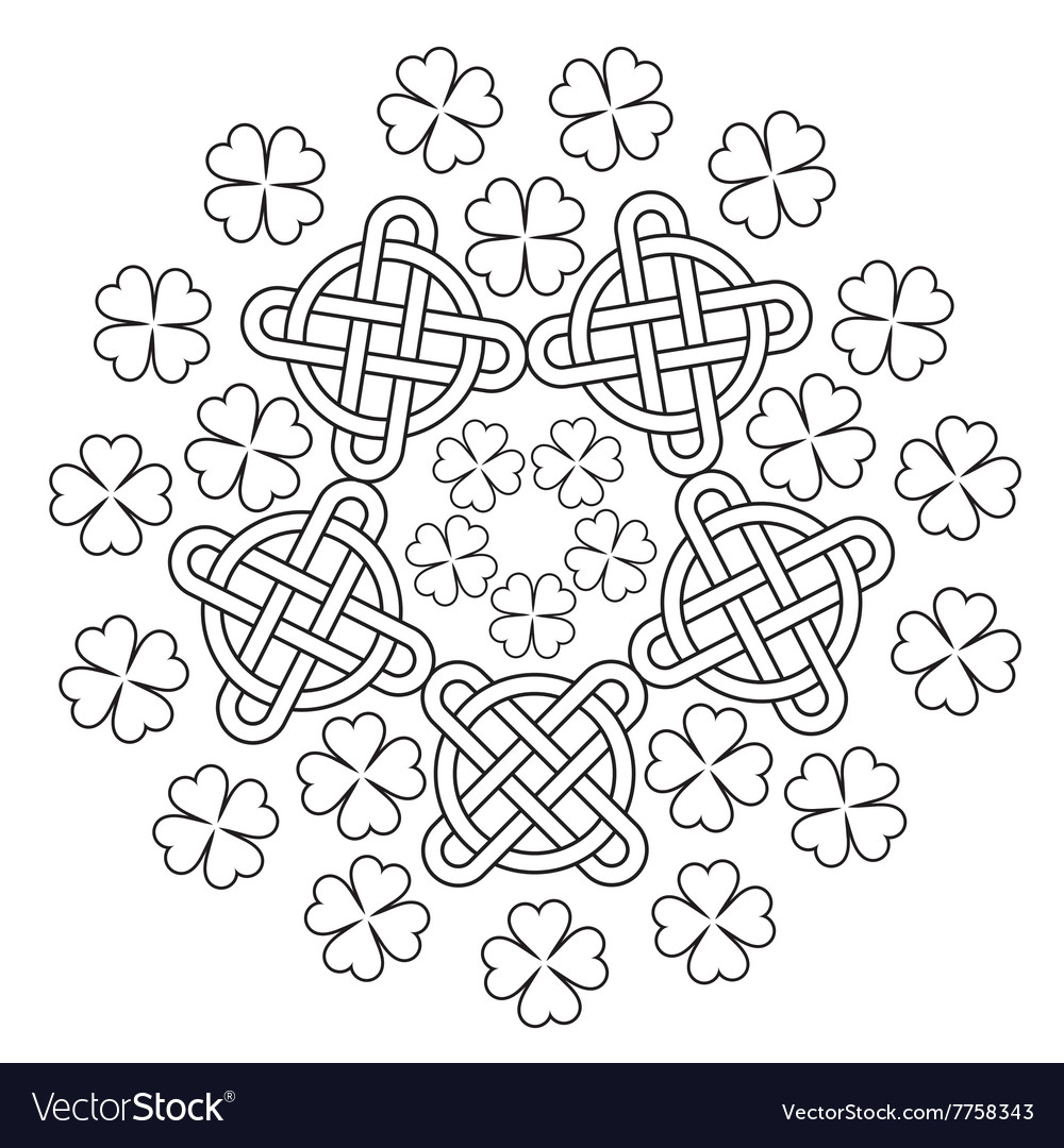 Celtic Mandala with knot ornament and clover of 4