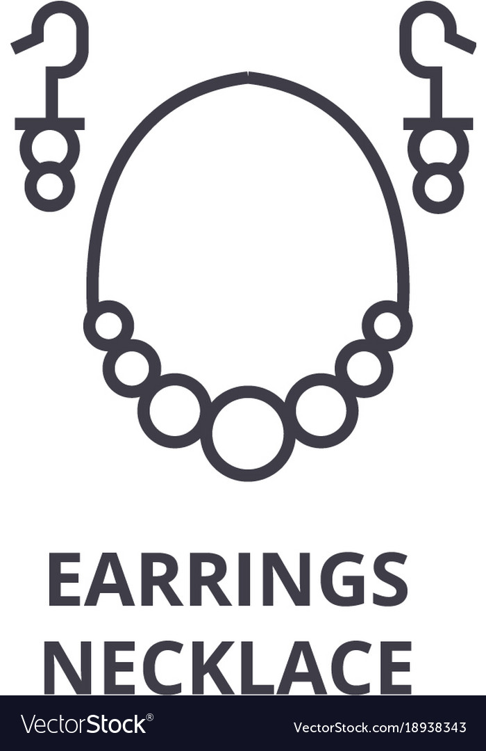 Earrings necklace line icon outline sign linear