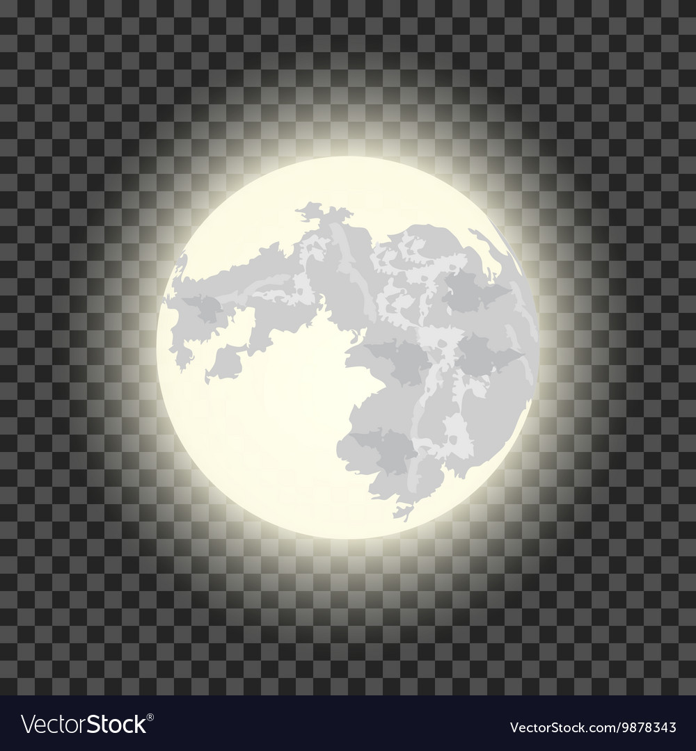 Full Moon On Dark Transparent Background Vector Image Realistic moon with texture colorful earth vector. vectorstock