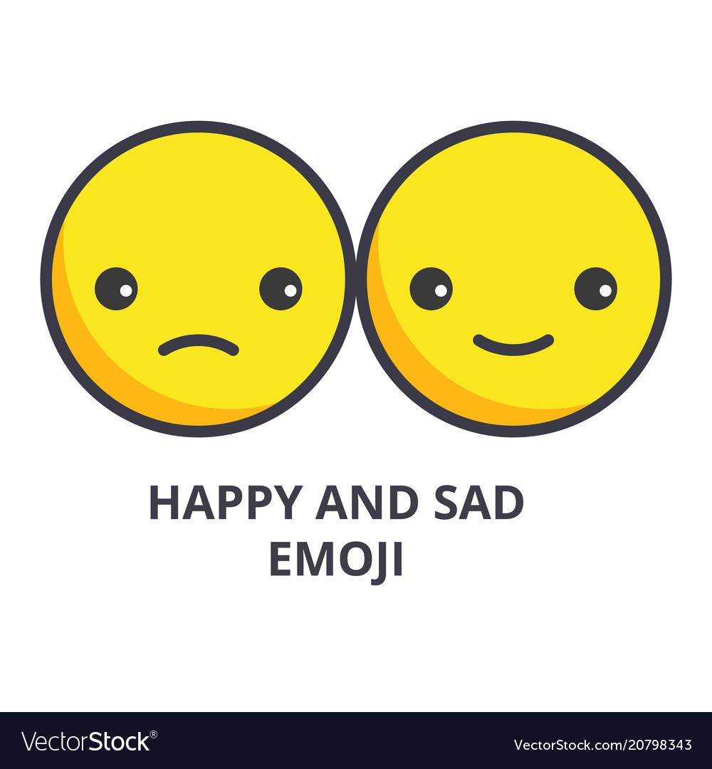 Happy and sad emoji line icon sign