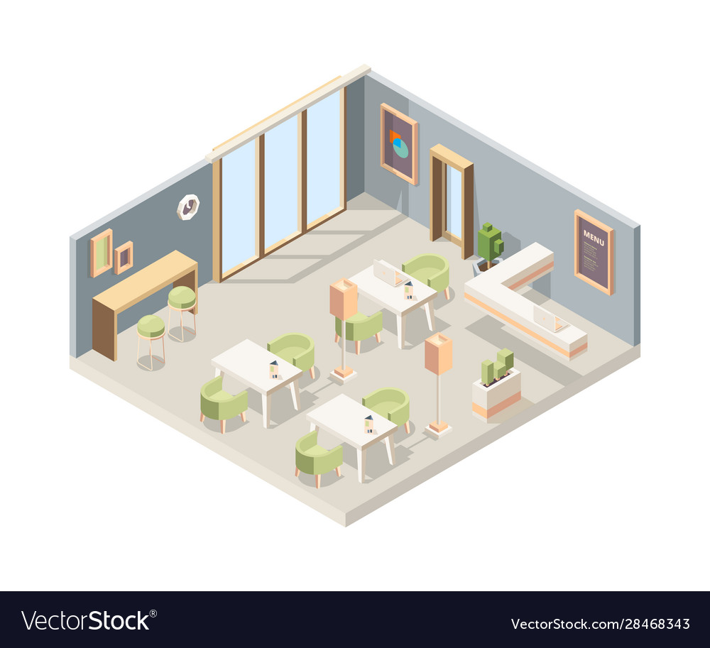 Restaurant isometric cafe modern interior