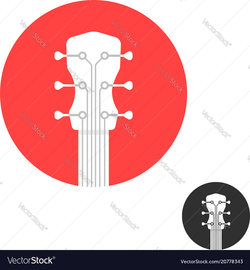 Round simple guitar neck icon on white vector image