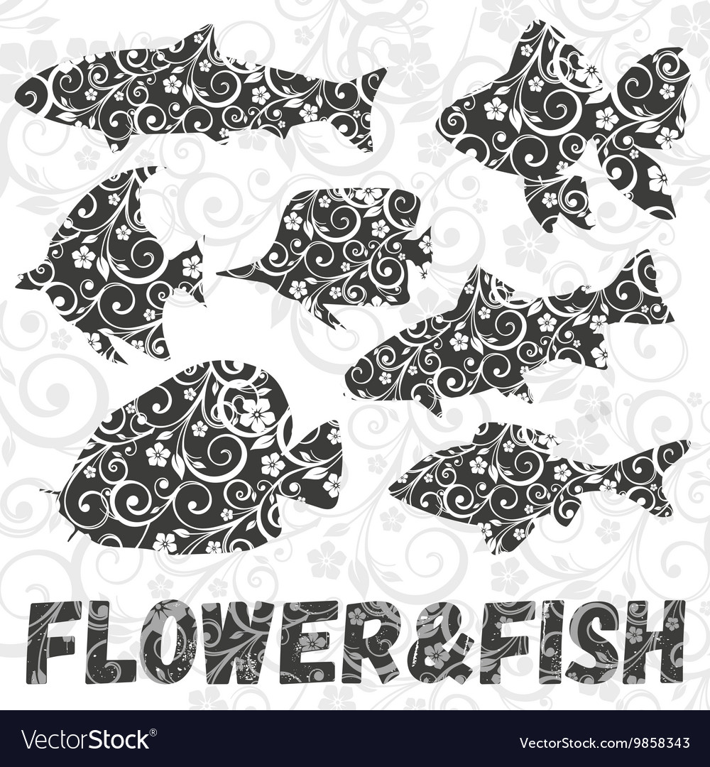 Set of fish silhouettes with flower pattern