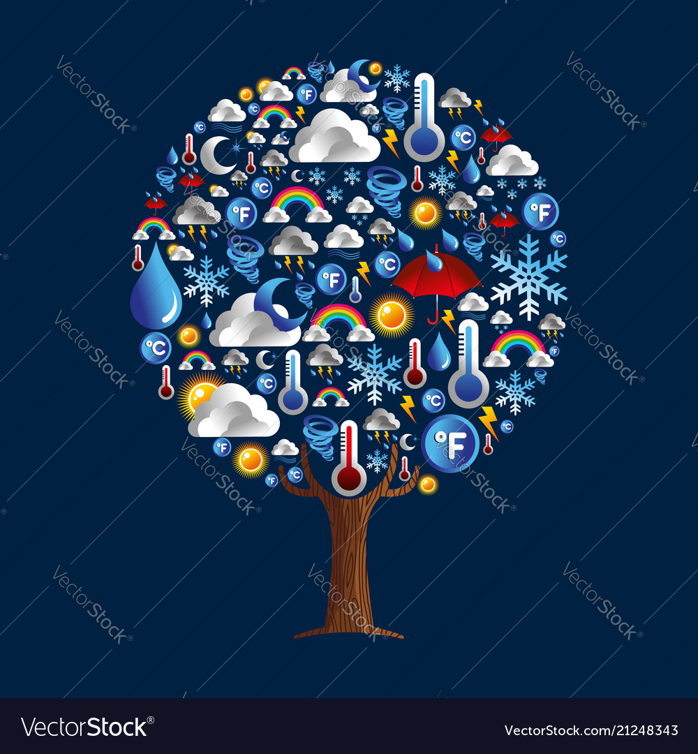 Weather tree icon concept for season climate