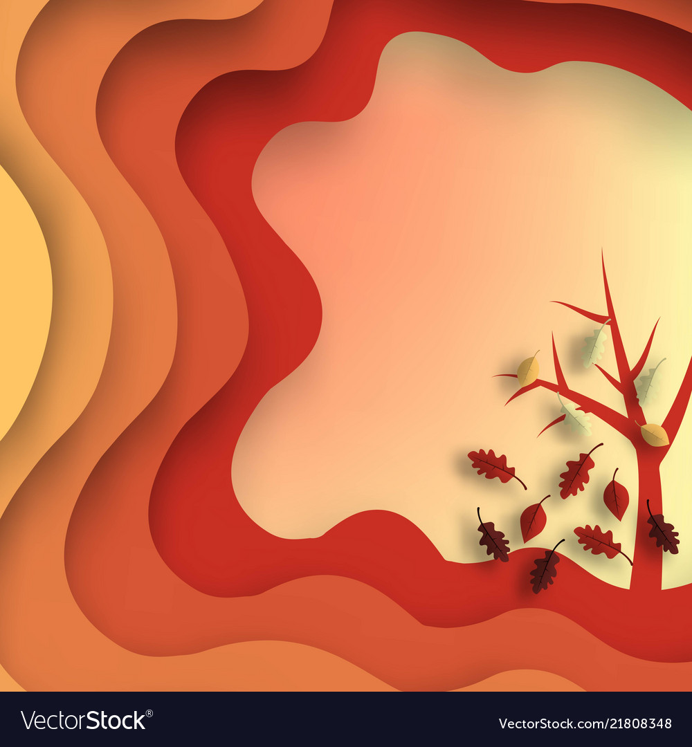 Autumn paper cut with leaves and tree abstract