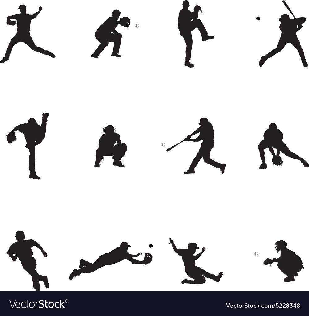 Baseball Black Silhouette vector image
