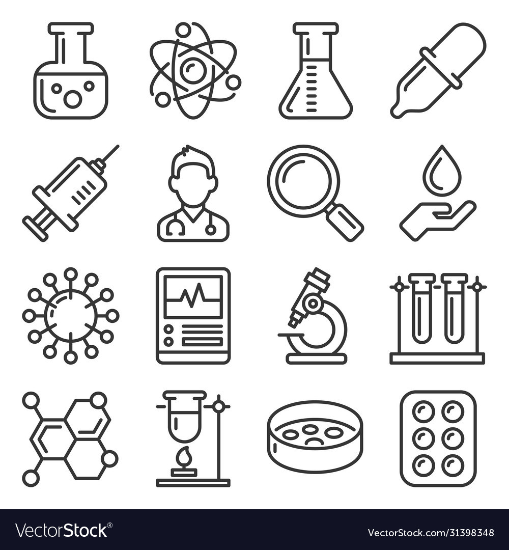 Chemistry and science icons set line style