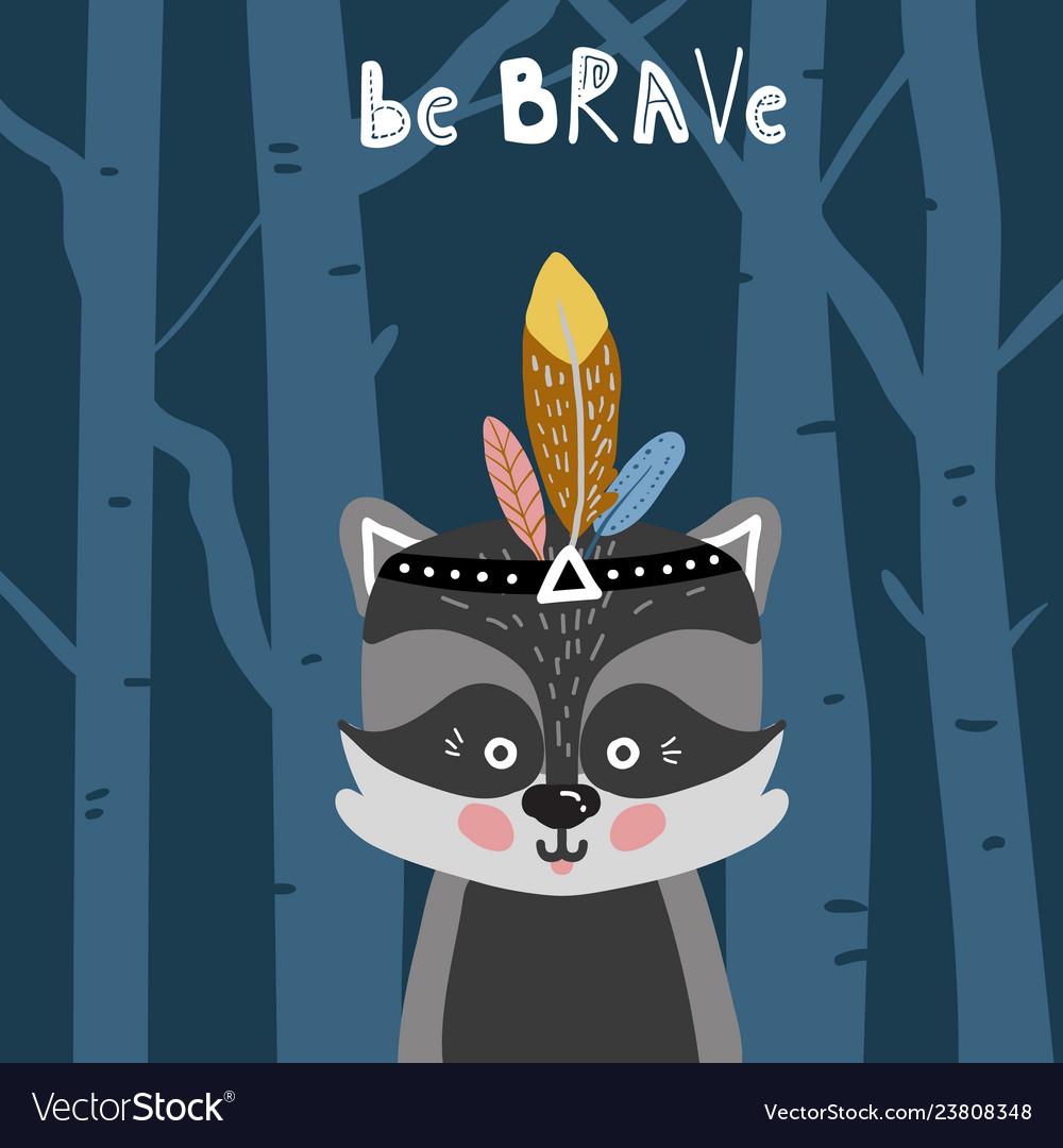 Cute cartoon little raccoon childish print