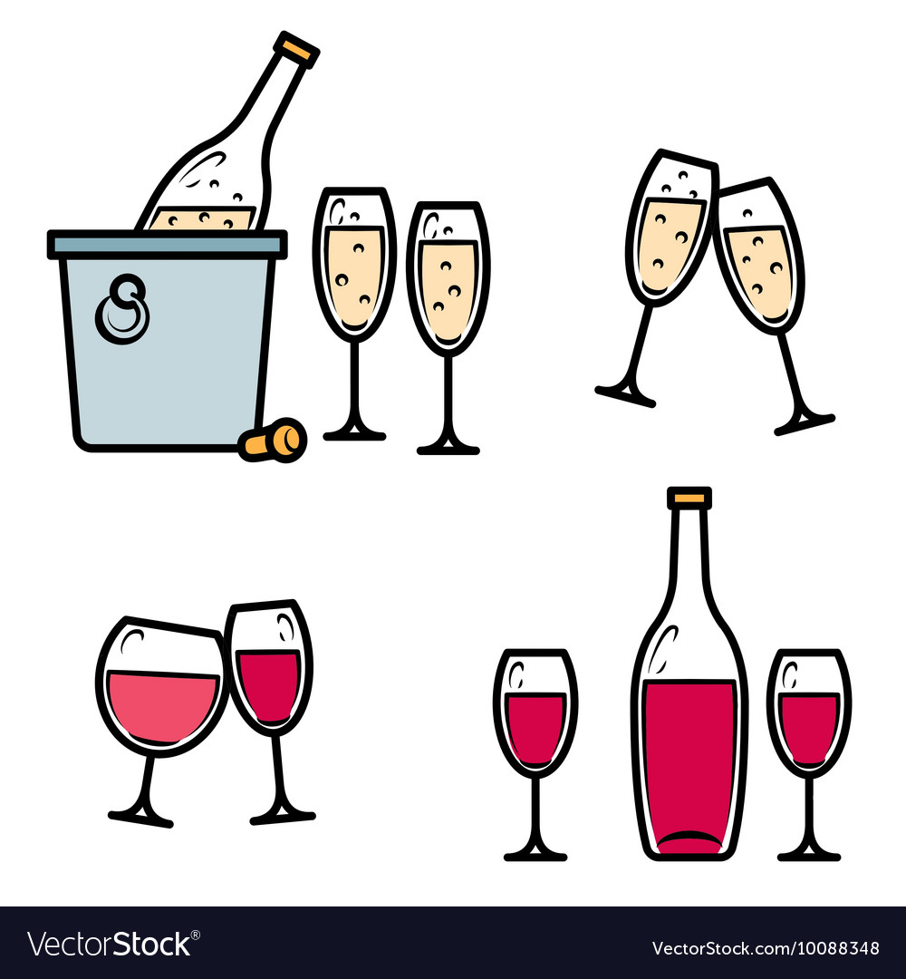 Drinking wine and champagne icon set