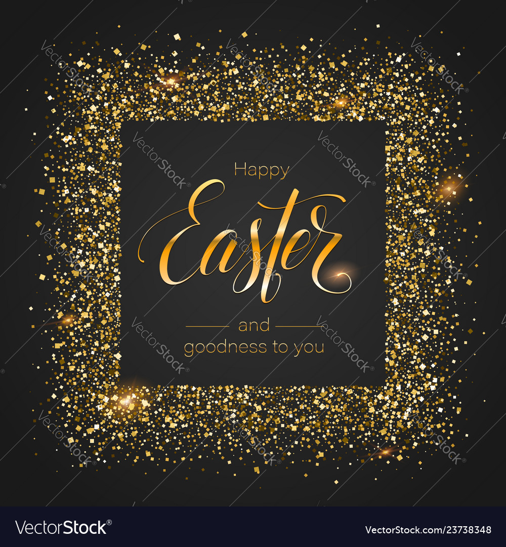 Easter greetings in glittering frame from golden