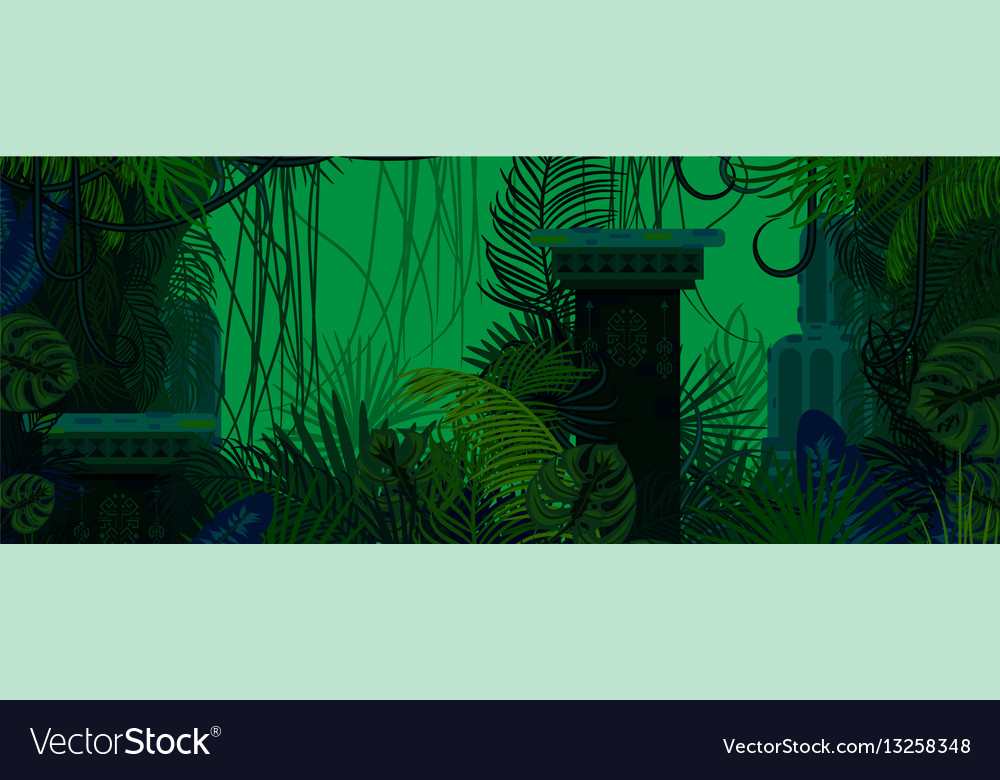 Exotic woods green wild nature background vector image