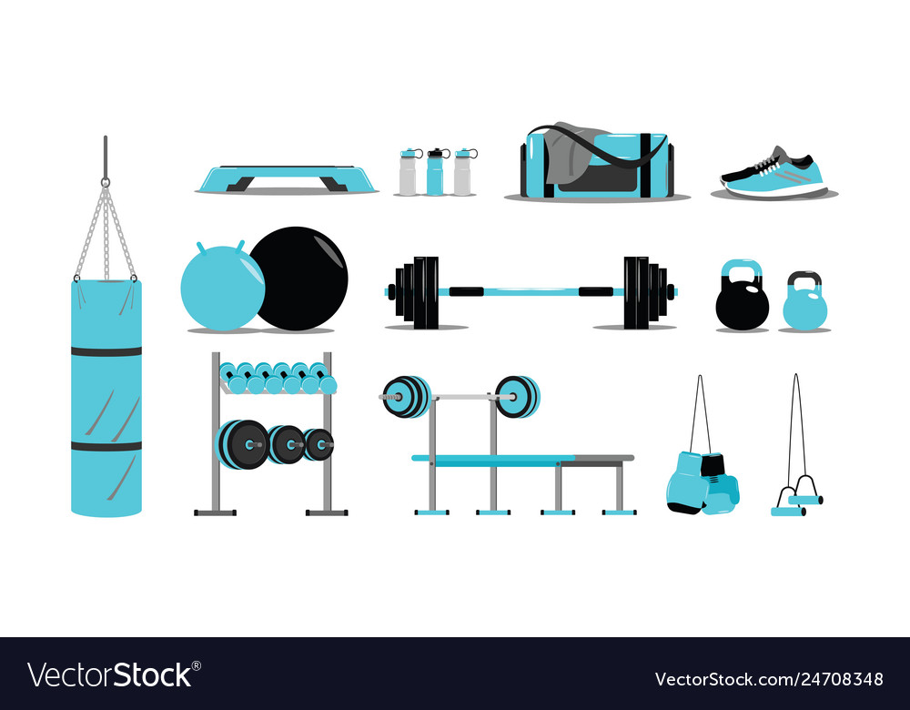 Fitness icons set with equipment