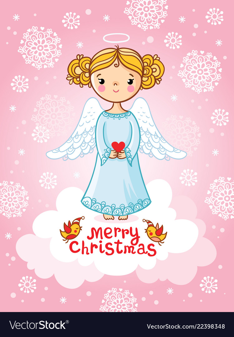 Greeting card with angel standing on a
