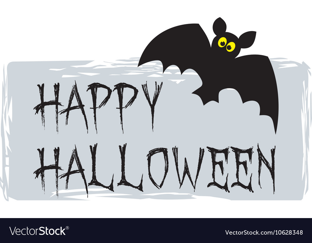 Happy Halloween party card with bat