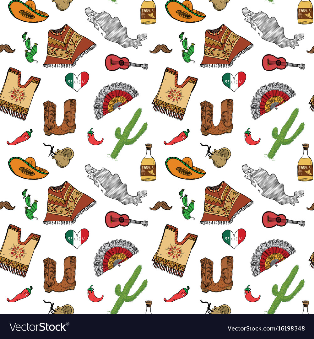 Mexico seamless pattern doodle elements hand