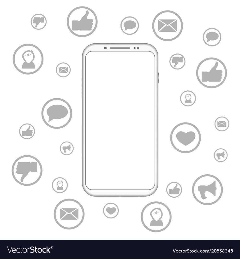 Mobile phone social media vector image