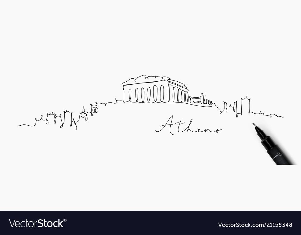 Pen line silhouette athens