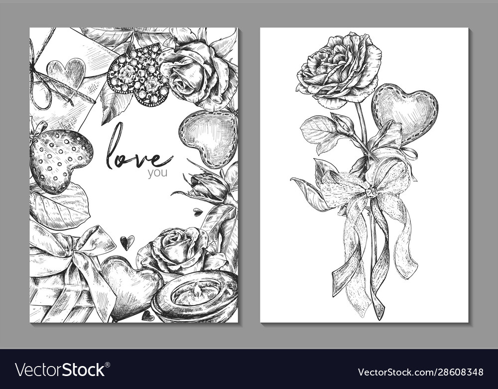 Set two banners with floral frame and bouquet