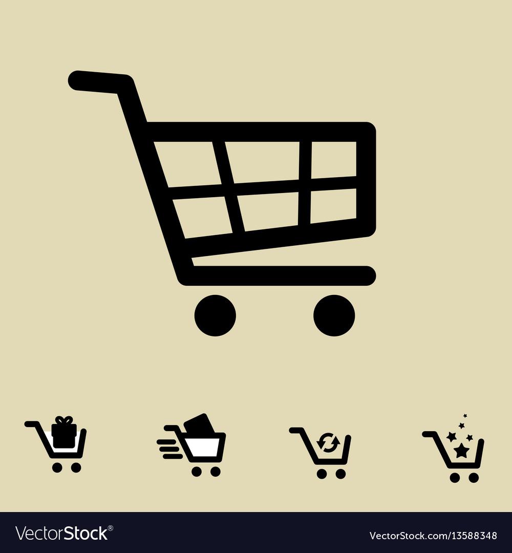 Shopping cart icon set isolated