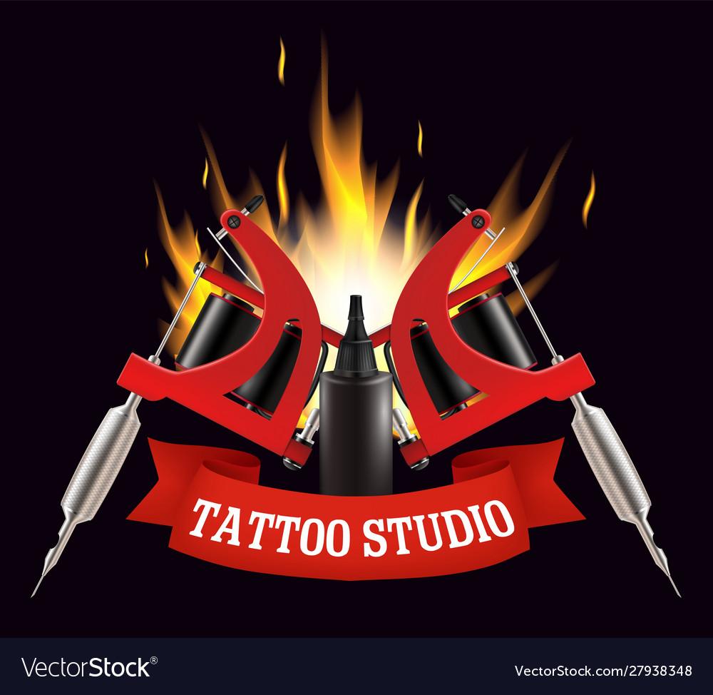 Tattoo studio label emblem logo template