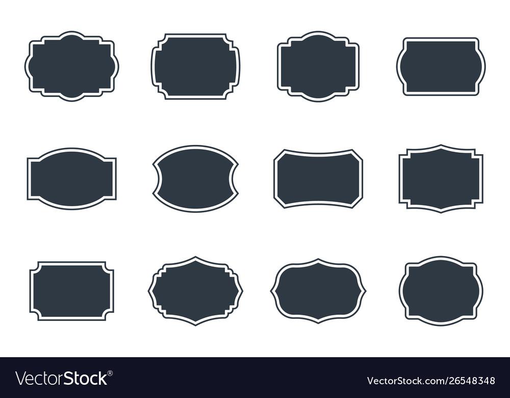 Vintage labels set empty blank frame in retro
