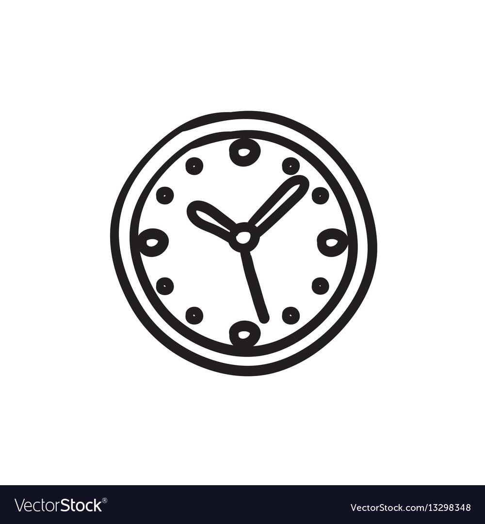 Wall clock sketch icon