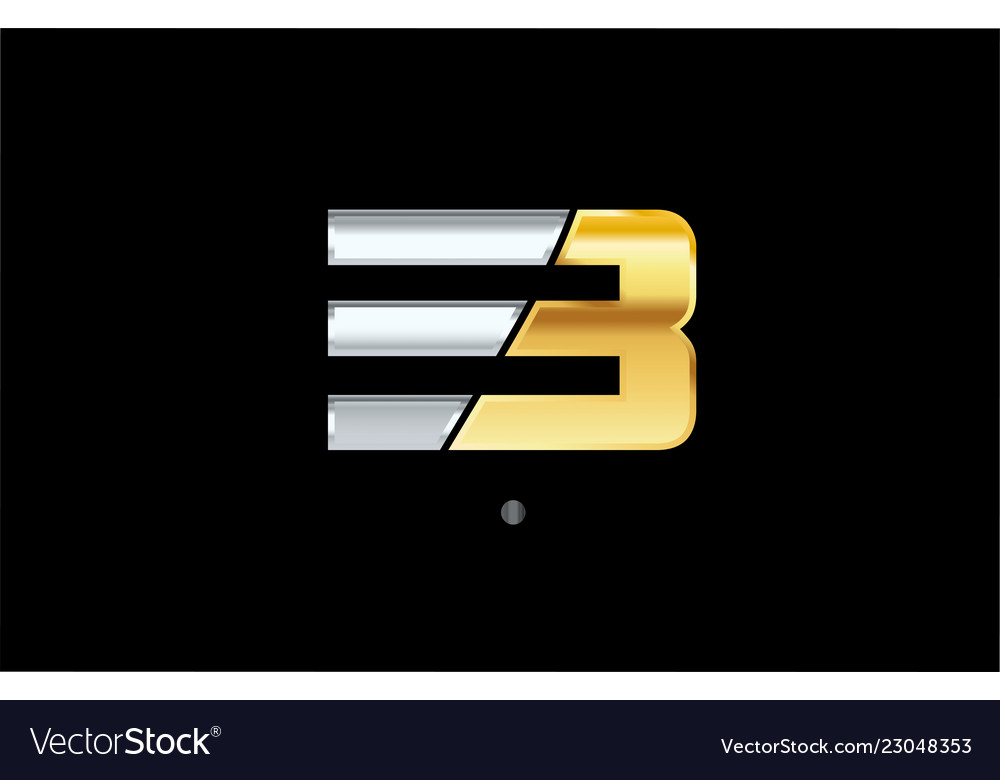 3 number silver gold logo icon design