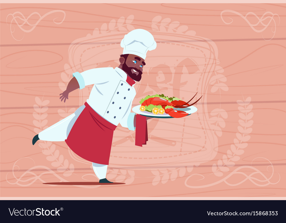 African american chef cook holding tray with