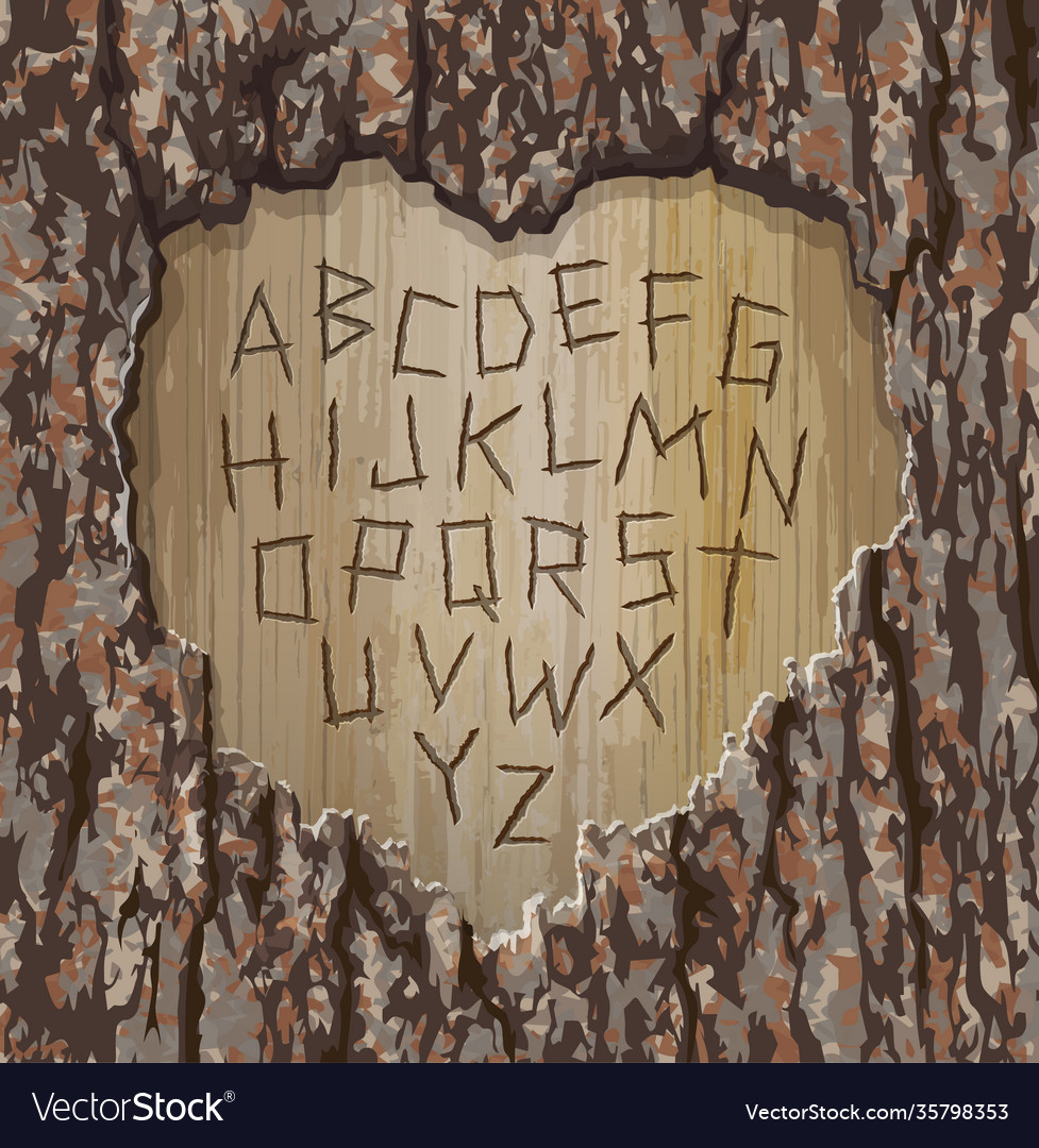 Alphabet letters carved into tree easy edit font