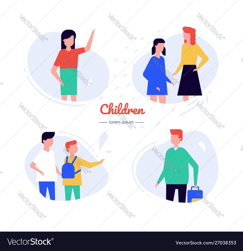 Children - flat design style characters set
