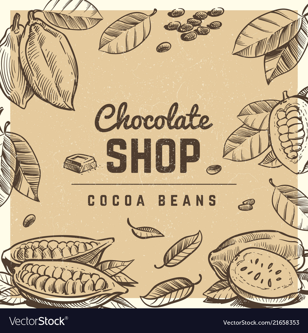Chocolate shop vintage poster design with sketched