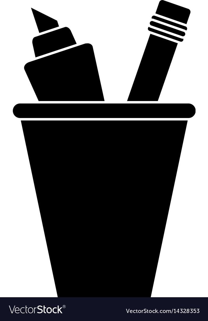 Cup pencil school utensil pictogram vector image